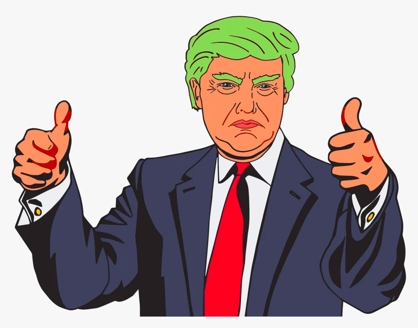 A colorful Donald Trump cartoon